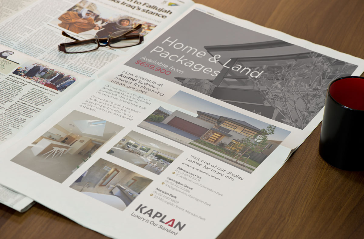 Kaplan Advertising Design FP newspaper