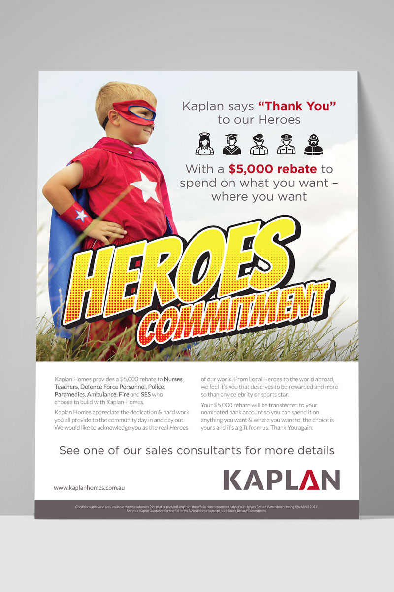 Kaplan Homes Hero Commitment Flyer